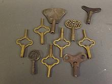 A quantity of clock keys, 3¼'' long