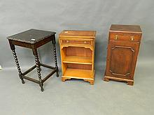A yew wood bedside table, an oak barleytwist occasional table, a mahogany bedside cabinet, and a trouser press, Best Bid