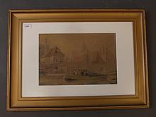 Ronald Way, watercolour, Dutch barge with distant town, 14¼'' x 9½''