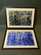 Two contemporary screen prints on textured paper, London Underground, 18½'' x 28½''