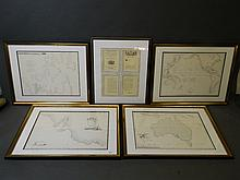 A set of four maps to include a framed map 'Plan du Port Jackson' after the original published 1828, 'Carte Generale de la Terne Napoleon' (a la Nouvelle Hollande), another of Australia, 'Carte du Grand Ocean, ou Mer du Sud', and a framed