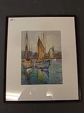 Gill, watercolour, moored sailing boats, signed, 10¼'' x 13¾''