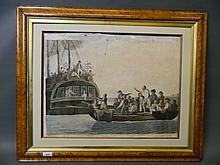 An C18th coloured engraving, 'The Mutineers turning Liet. Bligh and part of the officers and crew adrift from his Majesty's ship The Bounty', engraved by R. Dodd and published 1790 B.B. Evans, in a maple frame, 17½'' x 23½''