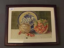 A watercolour, still life study of a blue and white Chinese plate and a basket of fruit, 13¼'' x 9¼''