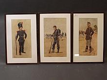 A set of three Maurice Romlery C19th colour litho prints, portraits of Belgium troops, largest 9¼'' x 16''