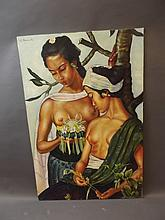 An Indonesian oil on board, two semi-nude women, signed R. Bonnet, 35'' x 23½''