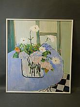 Eva Hannah, acrylic on canvas, 'Flowers From My Garden', signed and dated 84, 48'' x 55''