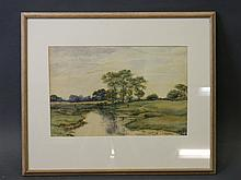 A.H. Adams 1882, watercolour, countryside landscape with footbridge over a stream, signed, 14'' x 9''