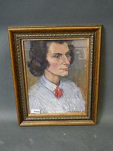 B.P. Johnson, pastel portrait, woman, inscribed verso 'Beatrice Prudence Johnson, R.A., RWS', signed and dared 1952, 10'' x 13''