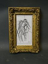 A pencil on paper sketch, abstract figure, signed 'K.V.', in a good gilt frame, 5½'' x 9¾''
