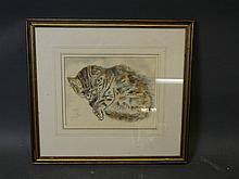 An early C20th Foujita print heightened with pen, crayon and wash, portrait of a sleeping tabby cat, 9¼'' x 7½''