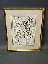 Charcoal on paper, circus clown and horse, signed Laura Knight, 11'' x 17''