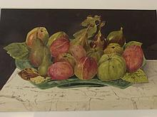 W. Norman, watercolour, still life study of a bowl of fruit, signed, 11¼'' x 7¼''