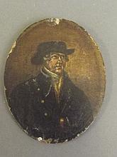 A C19th miniature, portrait of a sailor, painted on wood, 5'' long