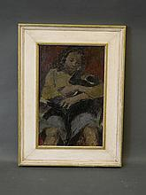 Thomas Rathmell, signed oil on board, 'Girl with a Cat', 12'' x 18¼''