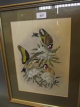 John Avery, watercolour, bull finches, signed, 18½'' x 14½''