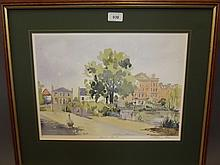 William Thomas, signed colour print, 'Barnes Pond', 22'' x 19''