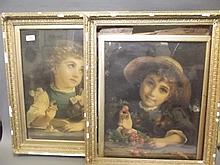 A pair of Victorian gilt framed colour prints on canvas, boy and girl, 25½'' x 21''