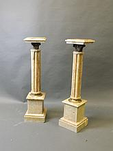 A pair of marble and brass architectural pedestals, 9½'' square, 40½'' high