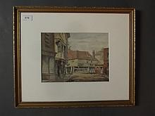 A watercolour, town scene, inscribed verso 'Stroud, Tollgate, The Day of Demolition', 10'' x 7¼''