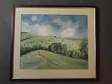 J. Greening, watercolour, countryside landscape with fields, signed, 19'' x 15½''