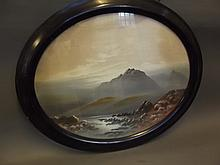 F. Holmes, oval watercolour, lake in a Moorland landscape, signed, 19'' x 15''