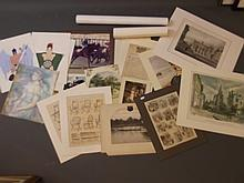 A quantity of unframed prints, etchings, gouache, watercolours and photos