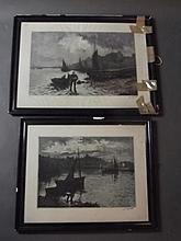 A. Lafitte, pair of colour lithographs, fishing and dockside scenes, pencil signed, largest 23¼'' x 15 1/¼(frame AF)