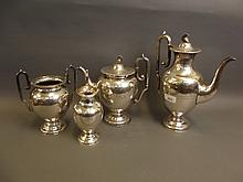 A good C19th Sheffield plate four piece tea/coffee service by Richardsons, engraved with Grecian scenes, 12½'' high