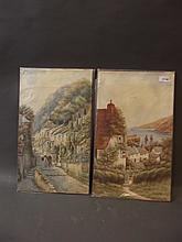 William Sands, pair of unframed watercolours, coastal scenes with figures, signed, 20'' x 12''