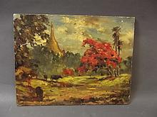 A Burmese unframed impressionist oil on board, landscape with cattle and figure, 17½'' x 13½''