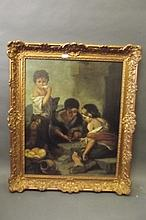 A large C19th oil on canvas after Murillo, Italian street urchins eating fruit, in a good gilt frame, image 31'' x 24½''