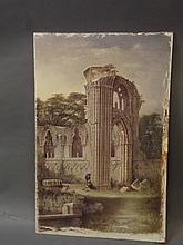 A C19th unframed watercolour, figures by a ruined abbey, 21'' x 13½''
