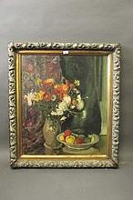 Jakob Dielo (?), a large C19th oil on canvas, still life study of flowers and fruit, signed, in a heavy gilt frame, image 32'' x 27''