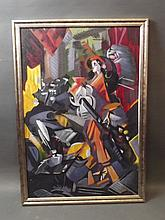 A C20th oil on canvas, abstract, figure playing a guitar, image 36'' x 24''