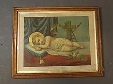 A C19th colour print, Sleeping Christ, in a maple frame, 16'' x 20''
