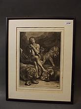 An early blue and white engraving after Rubens, figure with lions, 20½'' x 16½''