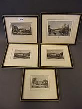 A set of 5 C19th hand coloured engravings of local interest, Bury Hill, Malta Court, Albury Park etc, 11½'' x 9½''