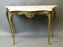 An ornate gilt brass serpentine shaped marble topped console table, 43'' x 16'', 28½'' high