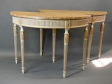 A pair of C19th painted and gilt demi-lune console tables with fluted frieze and legs, with Sienna marble tops, 21'' x 49'', 34½'' high