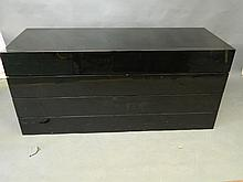 A pair of contemporary black lacquer chests of three drawers standing on plinth bases, 63'' x 23'', 28'' high (AF chips and scratches)