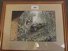 Mike Turner G.R.A., watercolour, locomotive entering a tunnel, signed and dated 92, image 8½'' x 6''