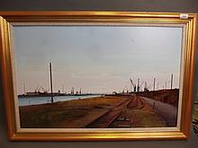 Laurence Roche, oil on board, 'The Industrial Seaside Past & Present', signed and dated 89, image 31'' x 19½''