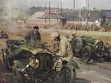 A Terence Cuneo colour print, vintage racing car scene, 35½'' x 26''