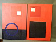 A pair of abstract oils on canvas, heightened with gold leaf, signed Nix