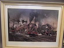 A Terence Cuneo pencil signed colour print, 'Stabling for Giants, Locomotive Depot, Boulogne' 12/500, 34'' x 26½''