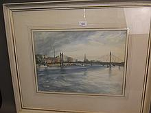 Ivor Hayer, watercolour, 'Albert Bridge, Evening 28th June 1969', details verso and Exhibition label, 30'' x 25'' including frame