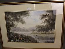 Paul Pinday, watercolour, 'River Reflections', signed, 29'' x 21½' including frame