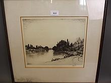 John Fullwood, an etching, 'Teddington Reach', signed in pencil, 19'' x 18''