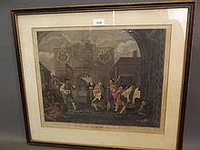A C19th hand coloured Hogarth engraving, 'Oh The Roast Beef of Old England', 24'' x 21''